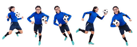 The football player isolated on the white background Stock Photos