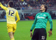 Football player Jermaine Jones react during UEFA Champions League game Stock Photos
