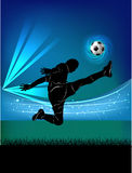 Football player - jump kick Royalty Free Stock Photos
