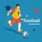 Football Player Kick Ball Sport Championship. Flat Vector Illustration Stock Images