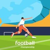 Football Player Kick Ball Sport Championship. Flat Vector Illustration Royalty Free Stock Photo