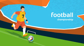 Football Player Kick Ball Sport Stadium Championship. Flat Vector Illustration Stock Images