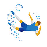 Football player kicking the ball in jump Stock Images