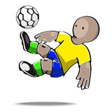 Football player kicking the ball. Vector illustration of football player kicking the ball Stock Image