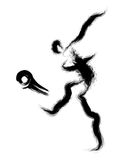 Football player kicking a powerful shot. Calligraphy Arts Design Stock Image