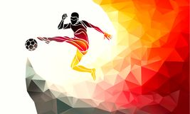 Football player kicks the ball in German flag colors. Soccer - Template Royalty Free Stock Image