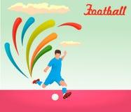 Football player kicks the ball . Vector illustration , EPS 10 Royalty Free Stock Image