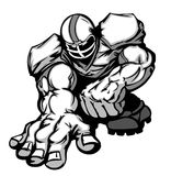 Football Player Lineman Vector Cartoon. Cartoon Silhouette of a Cartoon Football Player Crouching Royalty Free Stock Photos