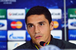 Football player Nicolae Stanciu during UEFA Cheampions League press conference Royalty Free Stock Photos