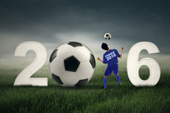 Football player with numbers 2016 Stock Images