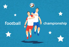 Football Player Opponent Team Hit Ball Sport Championship. Flat Vector Illustration Royalty Free Stock Image