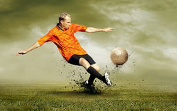 Football player outdoors Royalty Free Stock Photography