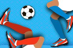 Football player in paper cut style. Origami Sport. Stock Photos