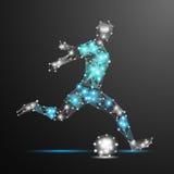 Football player polygonal. Abstract football player polygonal. Vector geometric illustration. Abstract polygonal wireframe mesh. Soccer player Royalty Free Stock Photo