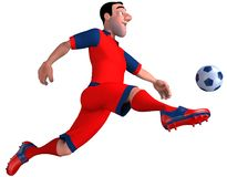 Footballer. Football player in red hits the ball. 3D illustration Royalty Free Stock Images