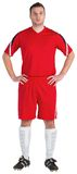 Football player in red looking at camera. On white background Royalty Free Stock Images