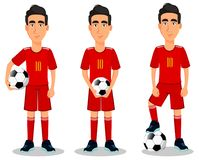 Football player in red uniform. Football player in red uniform, set of three poses. Handsome cartoon character with soccer ball. Vector illustration on white Royalty Free Stock Image