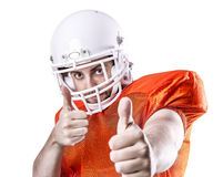 Football Player on red uniform isolated on white background Royalty Free Stock Photo