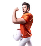 Football Player on red uniform on white background Stock Image