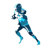 Football player running with ball. Abstract blue vector silhouette Royalty Free Stock Images