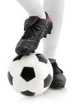 Football player's foot on the ball Stock Photography