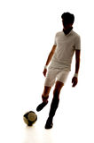 Football player score goals on white background Royalty Free Stock Image