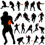 Football player set. Set of american football player silhouettes Stock Image