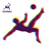 Football player shoots the ball at a jump. Sports concept. Design Element. Vector Illustration vector illustration