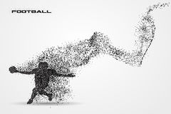 Football player of a silhouette from particle. American football player ball particle background and text on a separate layer. color can be changed in one click stock illustration