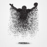 Football player of a silhouette from particle. American football player ball particle background and text on a separate layer. color can be changed in one click vector illustration