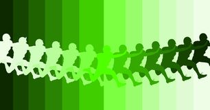 Football player silhouette in range of greens. With opposite background Stock Image