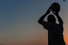 Football Player Silhouetted Colors Royalty Free Stock Photos