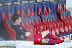 Football player sitting on the bench. Mihai Costea, player of Steaua Bucharest sitting alone on the bench before the game between his team and Petrolul Ploiesti Stock Images