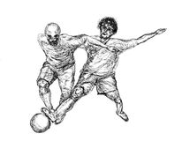 Football player sketch Stock Photo