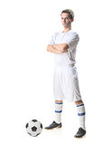 Football player with a soccer ball. Isolated against white background stock images