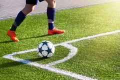 Football player on a soccer field. Royalty Free Stock Images