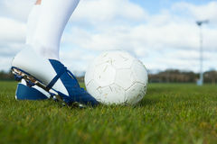 Football player about to kick ball Stock Images