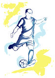 Football player - watercolor kick Royalty Free Stock Photo