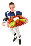 Football: Player Wide Angle with Buffalo Wings Stock Photos
