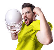 Football Player on yellow uniform isolated on white background Stock Image