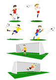Football Players. A collection of Football players, kicking, heading and goal keeping. If purchasing the vector, elements such as uniform color can easily be Royalty Free Stock Image