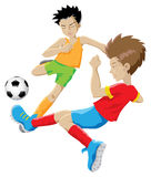 Football players. 2 kids playing football isolated vector image vector illustration