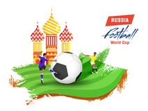 Football players in action and St Basil`s Cathedral on brush str. Oke background for Russia Football World Cup poster or banner design royalty free illustration