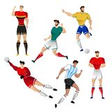 Football players from Argentina, Brazil, Russia, Germany, Mexico. And Belgium isolated on a white background. Colorful  illustration of soccer players. Vector Stock Image