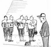 Football Players. Black and white illustration of football players looking at their coach Royalty Free Stock Photos