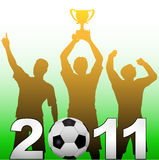 Football players celebrate 2011 soccer victory. Three football players celebrate 2011 season soccer victory championship title game Royalty Free Stock Image