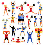 Football Players Cheerleaders And Fans Set Royalty Free Stock Images