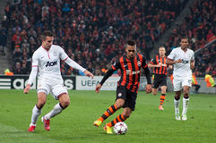 Football players on commands Shakhtar (Donetsk) and Bayer (Leverkusen) Stock Photo