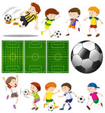 Football players in different actions and football fields. Illustration Stock Photos