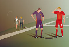 Football players discover hole. Illustration of two footballers looking down a hole on the pitch Royalty Free Stock Photo